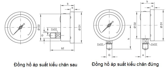 Kiểu kết nối đồng hồ đo áp suất