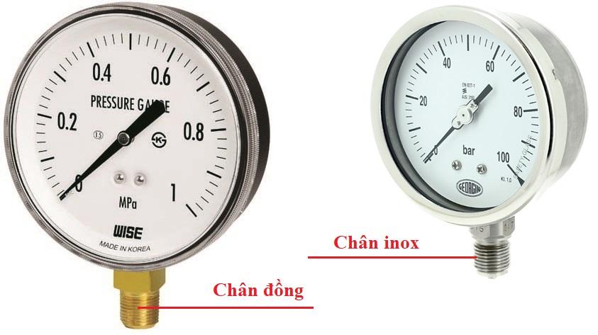 đồng hồ áp suất chân inox
