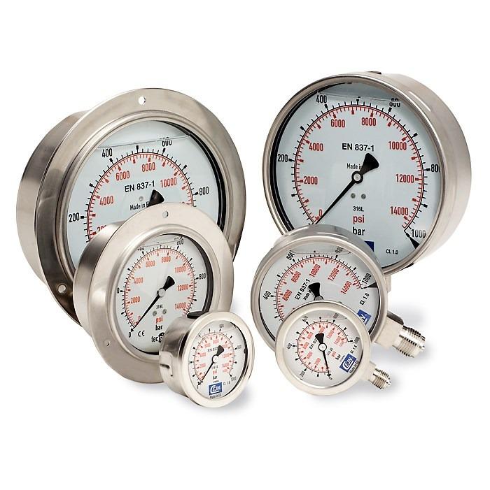 đồng hồ áp suất đường kính mặt 63mm, 100mm, 150mm