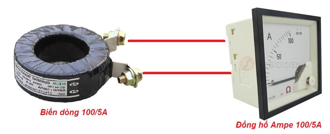Đấu dây biến dòng với đồng hồ Ampe
